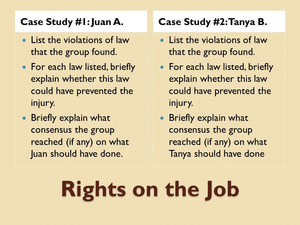 Rights on the Job Case Study #1: Juan A. Case Study #2: Tanya B.