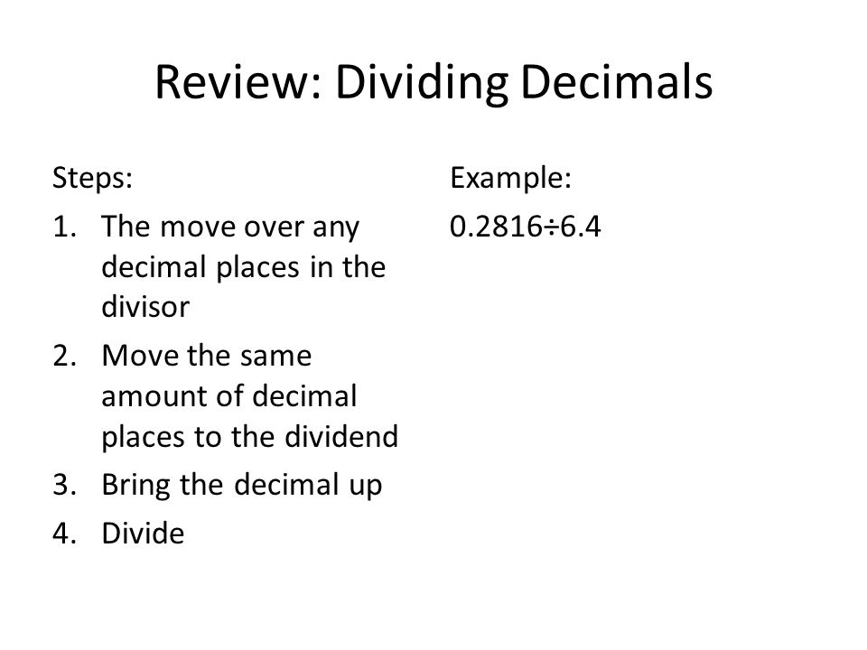 Review: Dividing Decimals