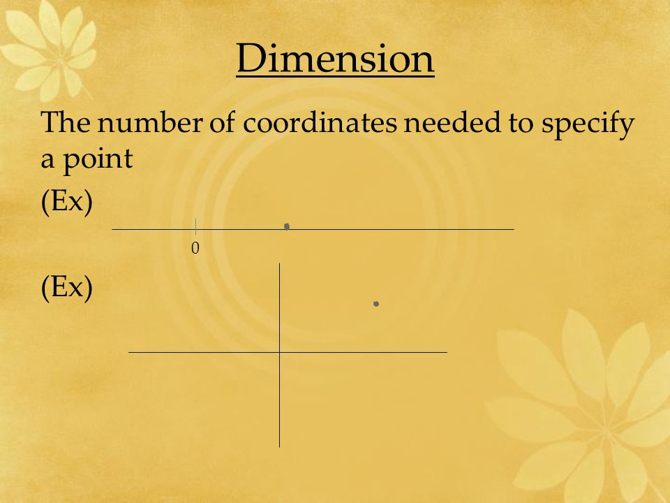 Dimension The number of coordinates needed to specify a point (Ex)