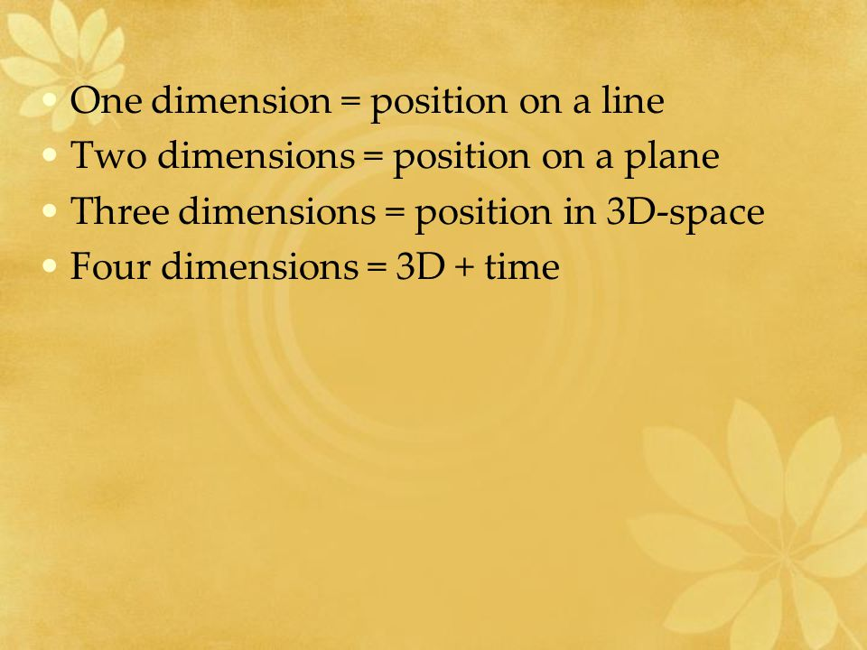 One dimension = position on a line