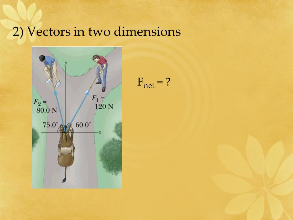 2) Vectors in two dimensions