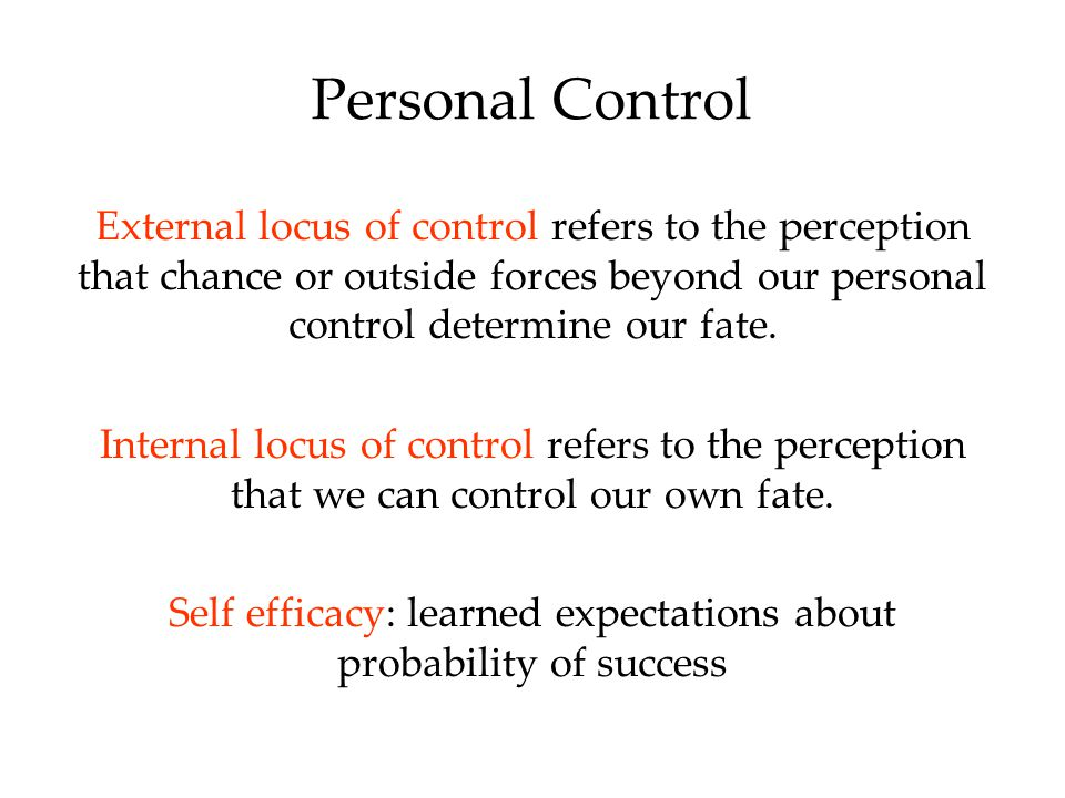 Self efficacy: learned expectations about probability of success