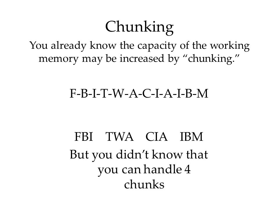 Chunking F-B-I-T-W-A-C-I-A-I-B-M FBI TWA CIA IBM