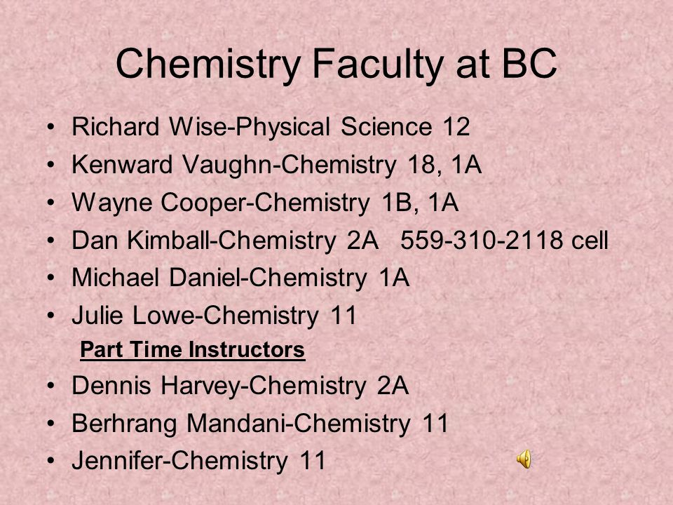 Chemistry Faculty at BC