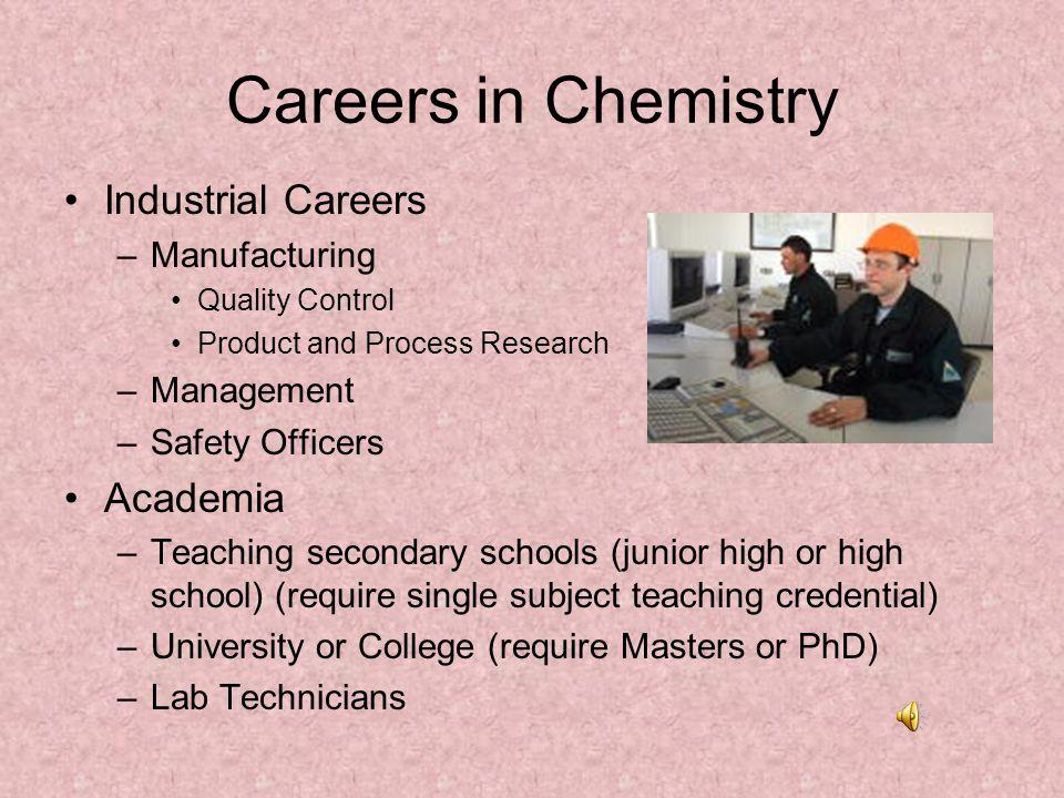 Careers in Chemistry Industrial Careers Academia Manufacturing