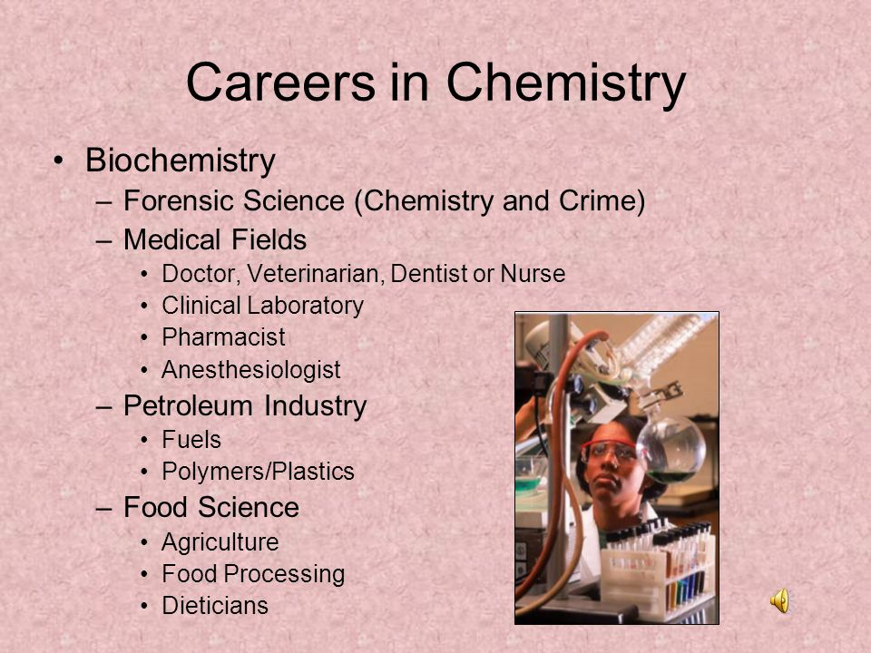 Careers in Chemistry Biochemistry