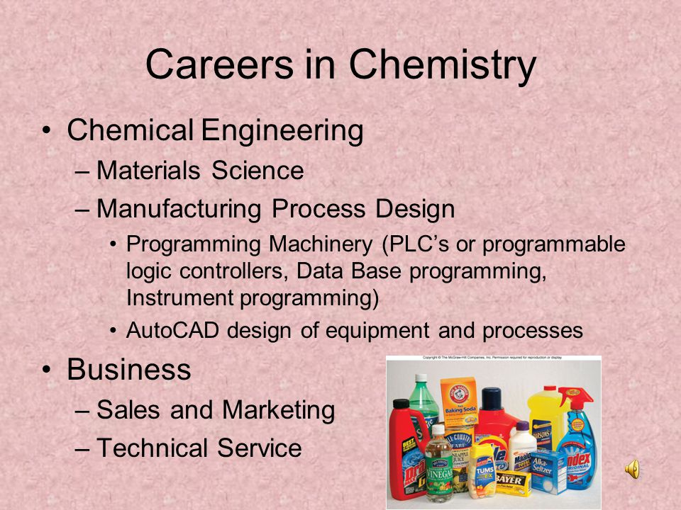 Careers in Chemistry Chemical Engineering Business Materials Science