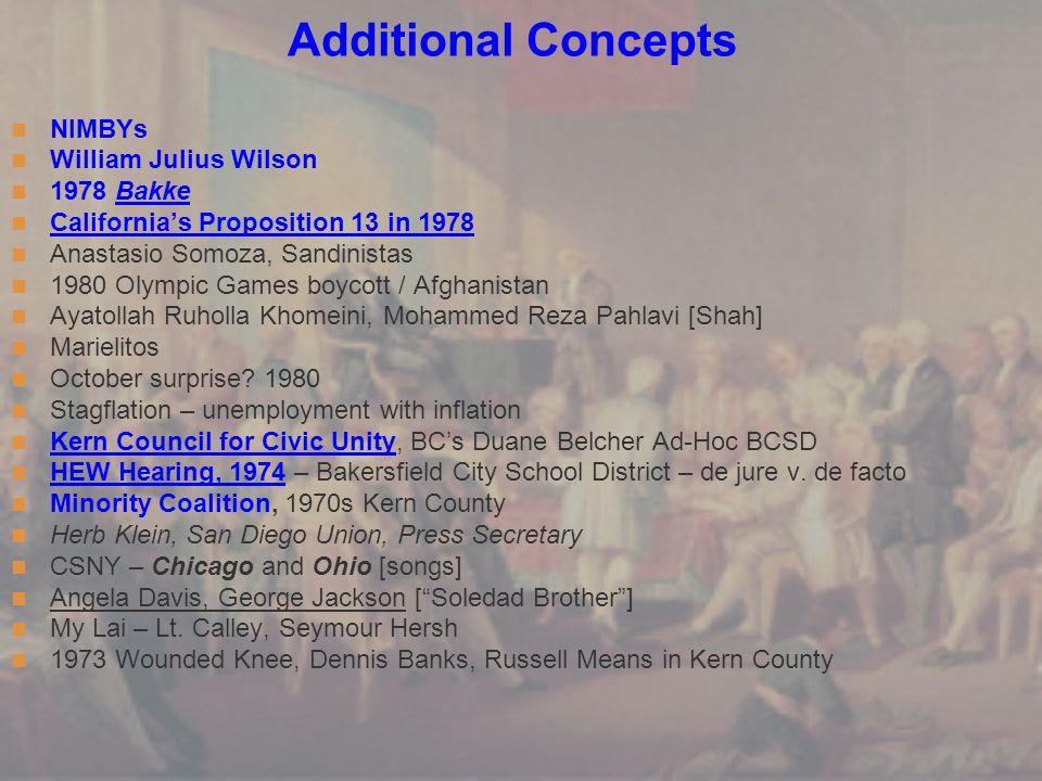 Additional Concepts NIMBYs William Julius Wilson 1978 Bakke