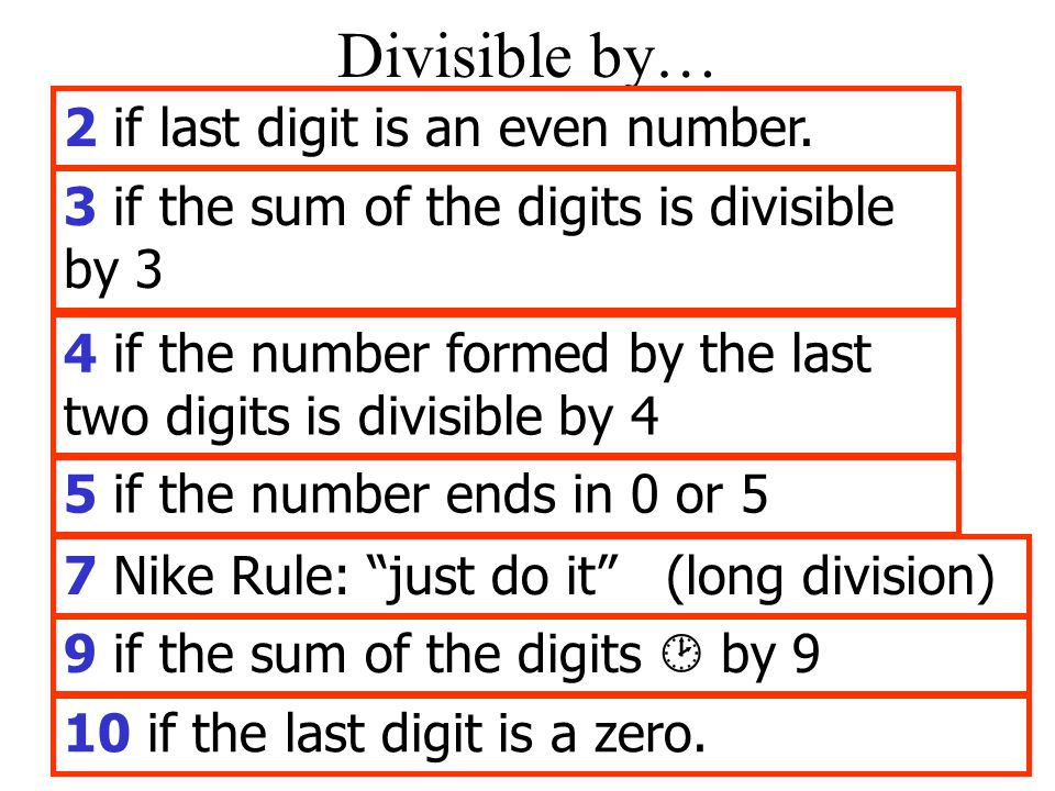 Divisible by… 2 if last digit is an even number.