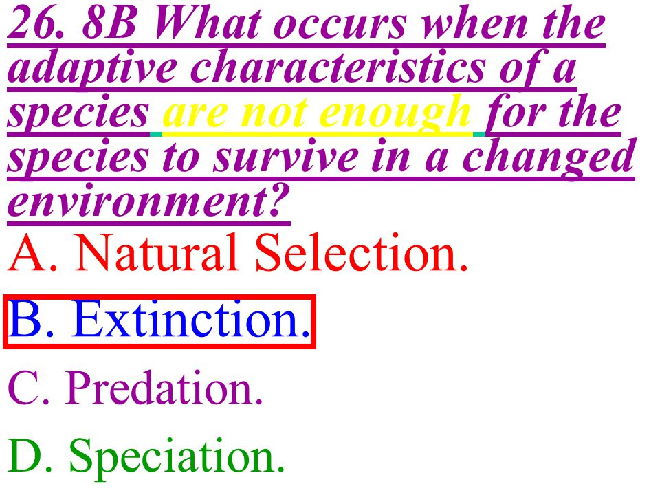 A. Natural Selection. B. Extinction.