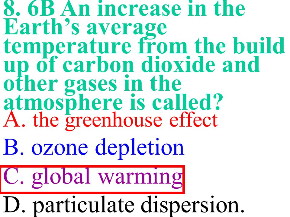 8. 6B An increase in the Earth's average temperature from the build up of carbon dioxide and other gases in the atmosphere is called