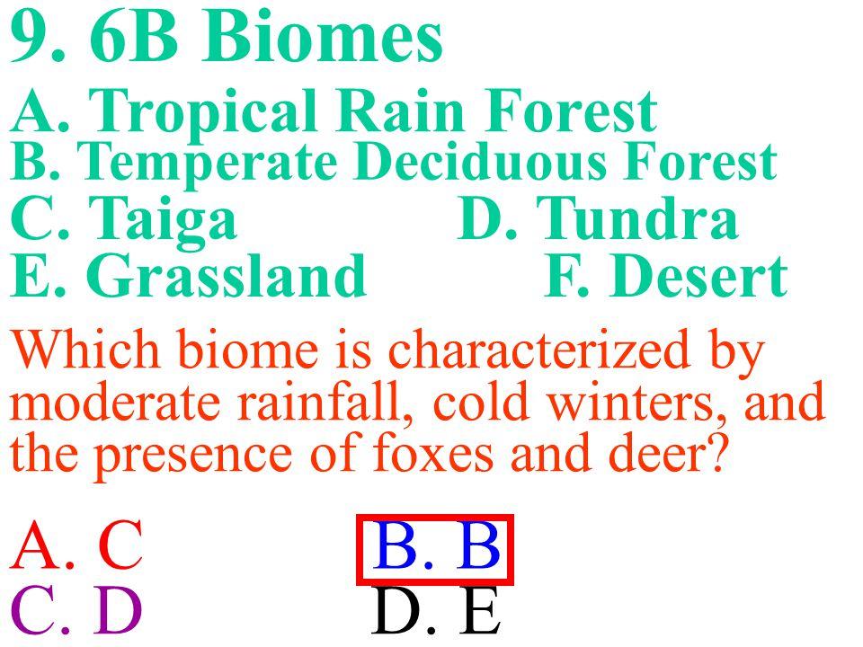 9. 6B Biomes A. C B. B C. D D. E A. Tropical Rain Forest