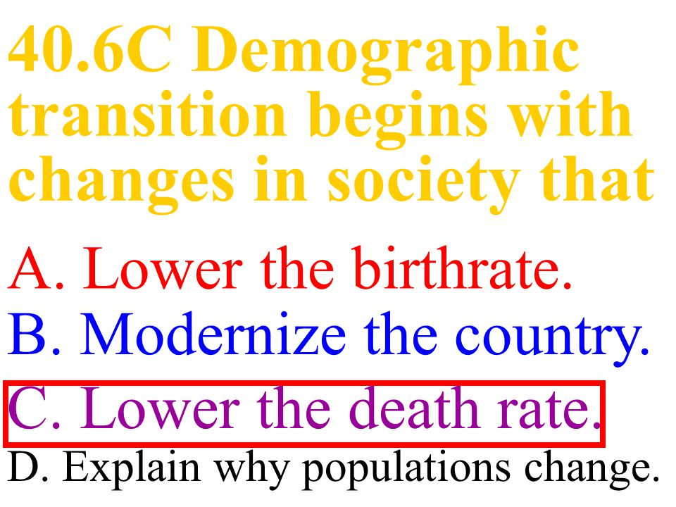 40.6C Demographic transition begins with changes in society that