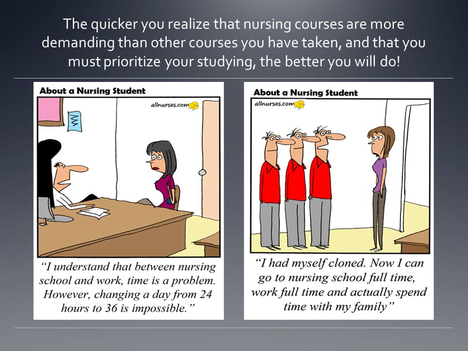 The quicker you realize that nursing courses are more demanding than other courses you have taken, and that you must prioritize your studying, the better you will do!
