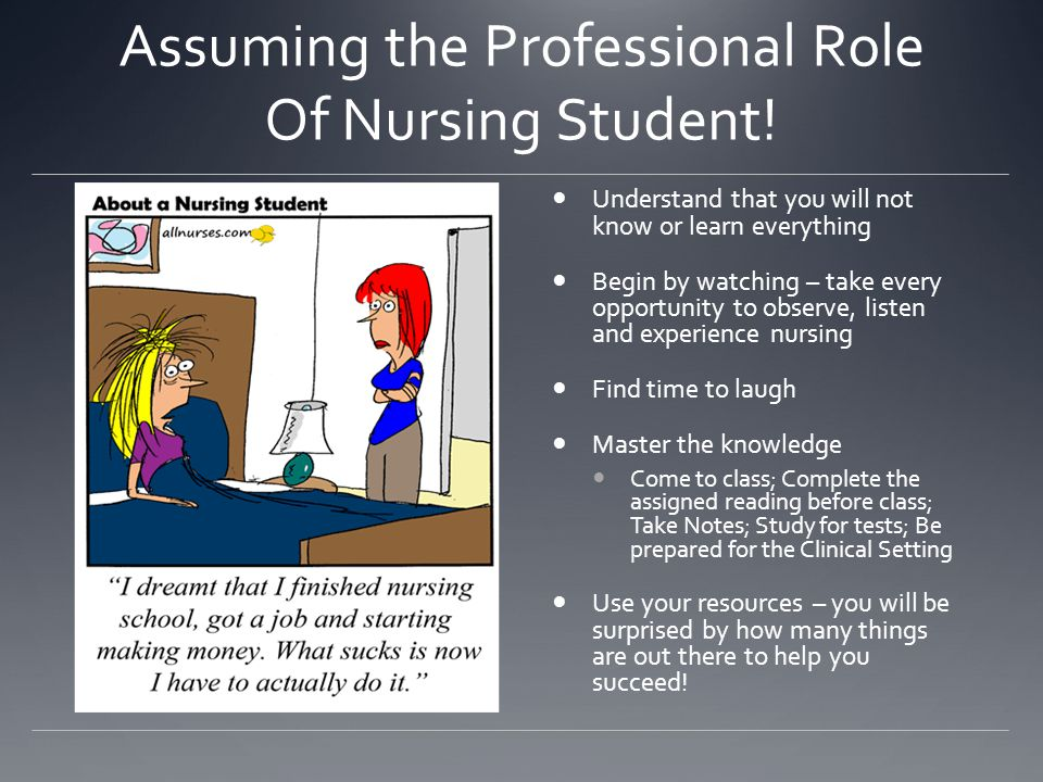 Assuming the Professional Role Of Nursing Student!