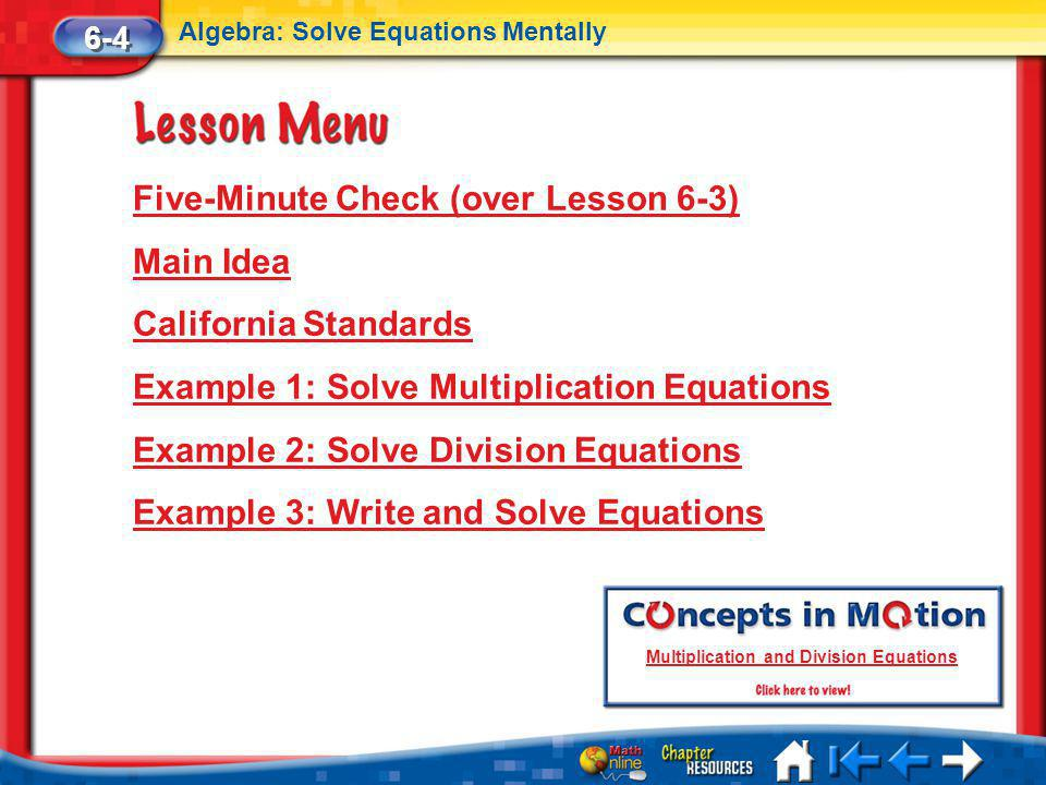 Multiplication and Division Equations