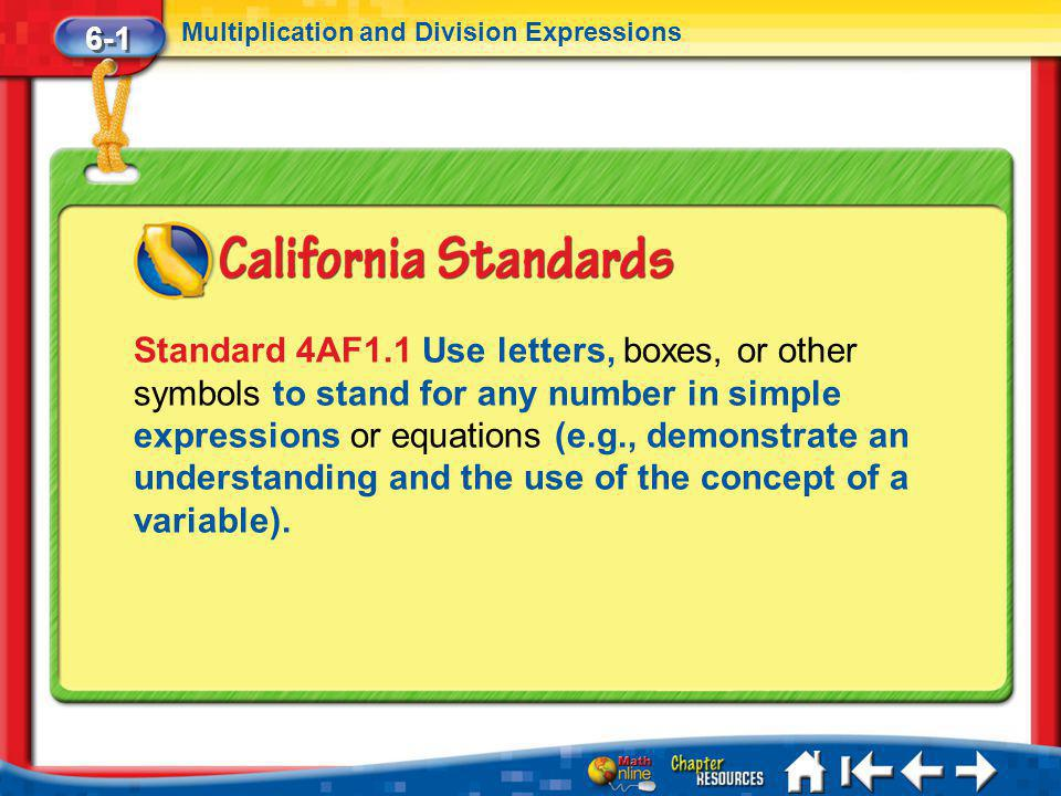 6-1 Multiplication and Division Expressions.