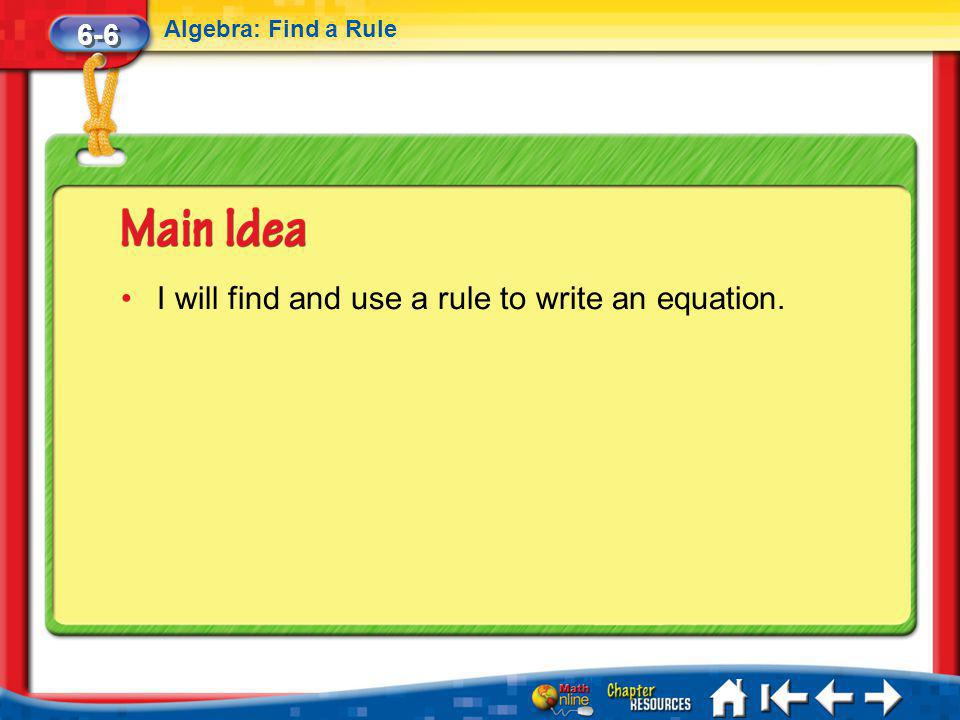 I will find and use a rule to write an equation.