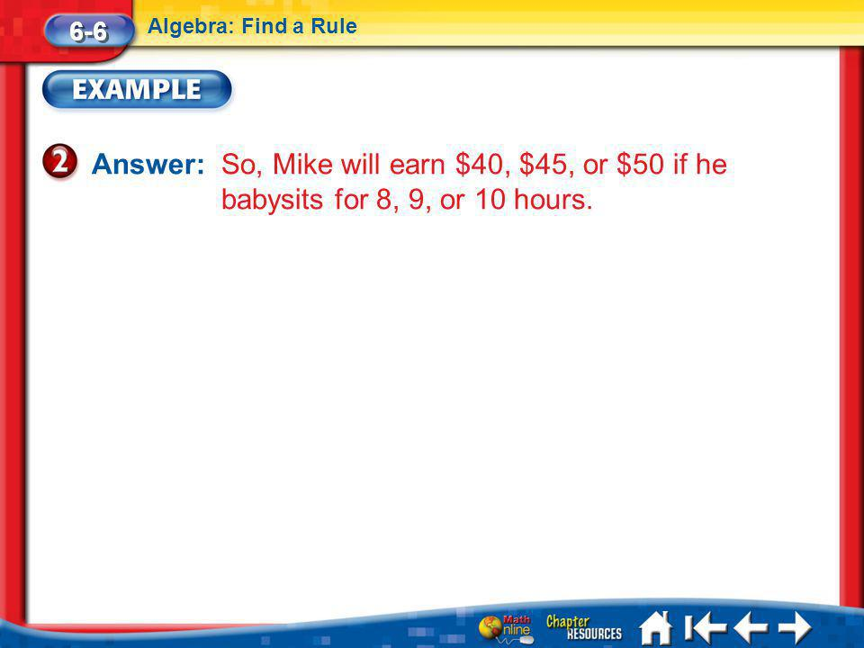6-6 Algebra: Find a Rule. Answer: So, Mike will earn $40, $45, or $50 if he babysits for 8, 9, or 10 hours.