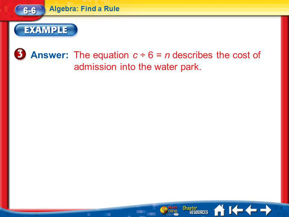 6-6 Algebra: Find a Rule. Answer: The equation c ÷ 6 = n describes the cost of admission into the water park.