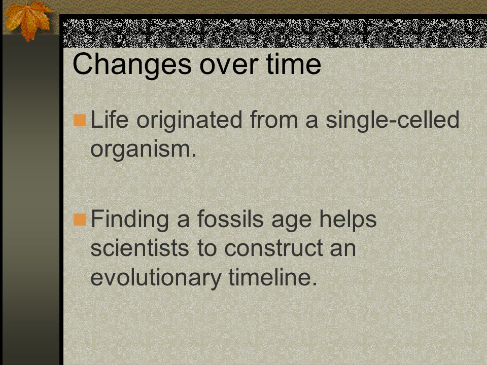 Changes over time Life originated from a single-celled organism.