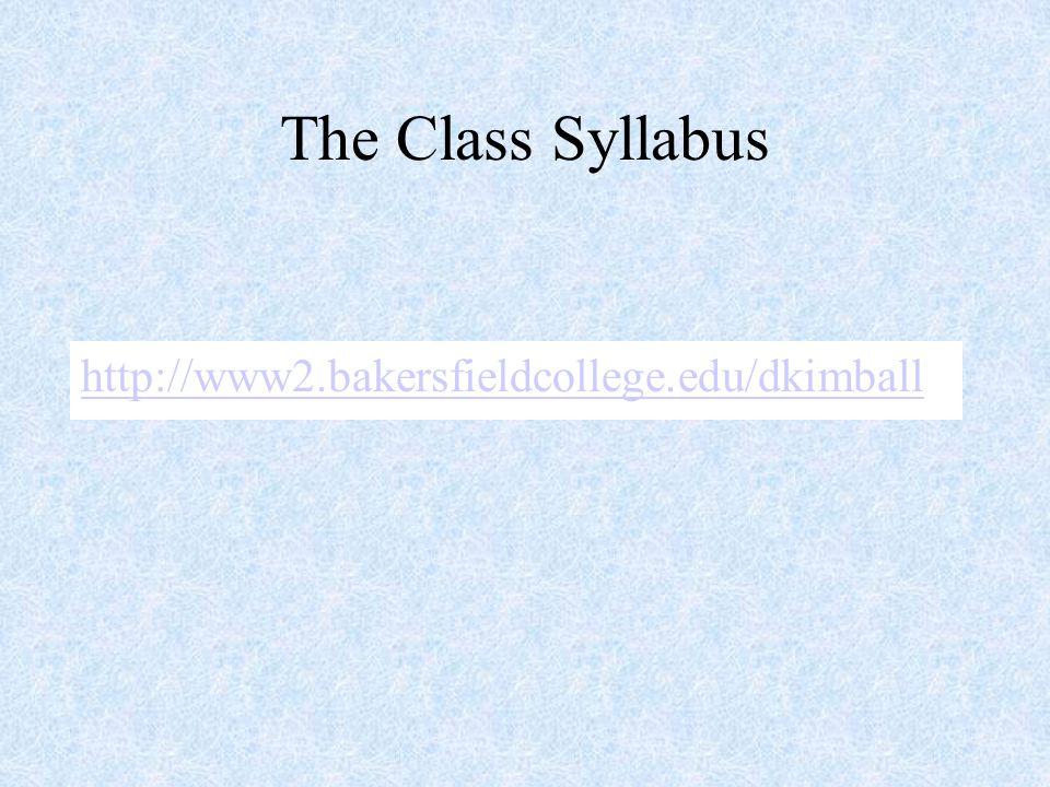 The Class Syllabus http://www2.bakersfieldcollege.edu/dkimball