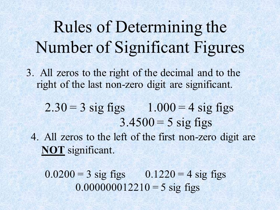 Rules of Determining the Number of Significant Figures