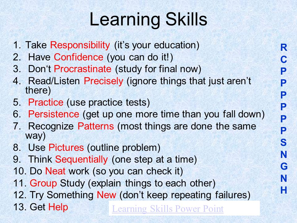 Learning Skills Take Responsibility (it's your education)