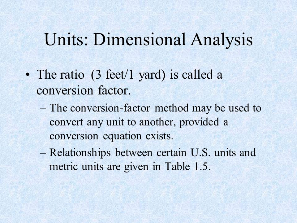 Units: Dimensional Analysis
