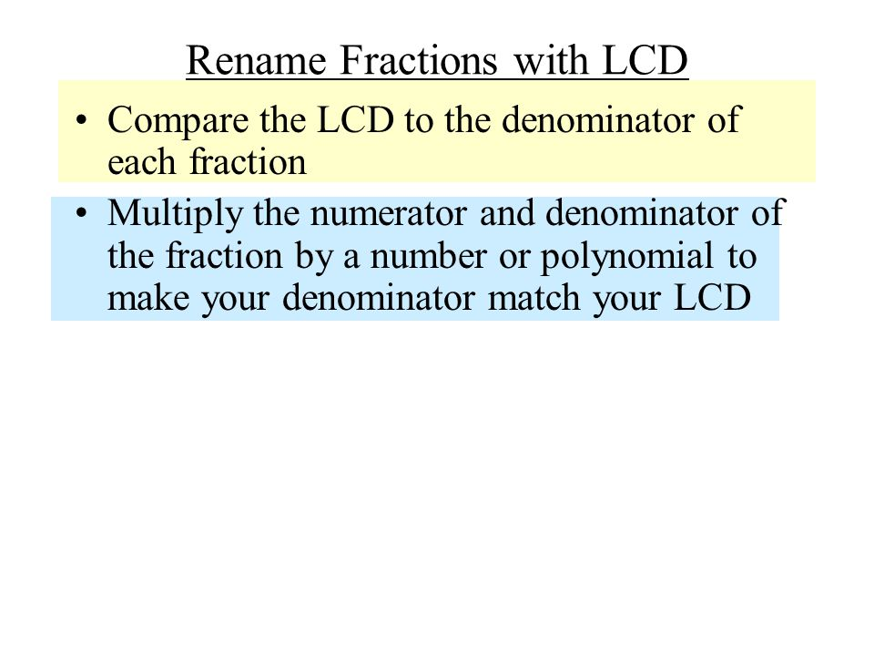 Rename Fractions with LCD