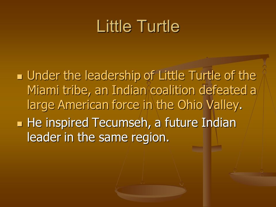 Little Turtle Under the leadership of Little Turtle of the Miami tribe, an Indian coalition defeated a large American force in the Ohio Valley.