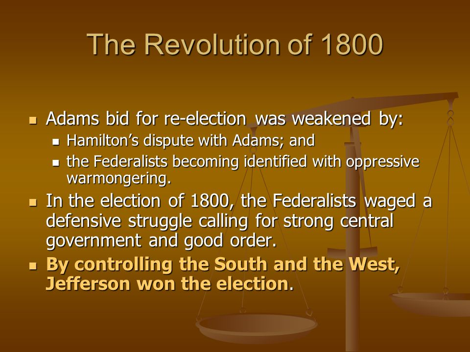 The Revolution of 1800 Adams bid for re-election was weakened by: