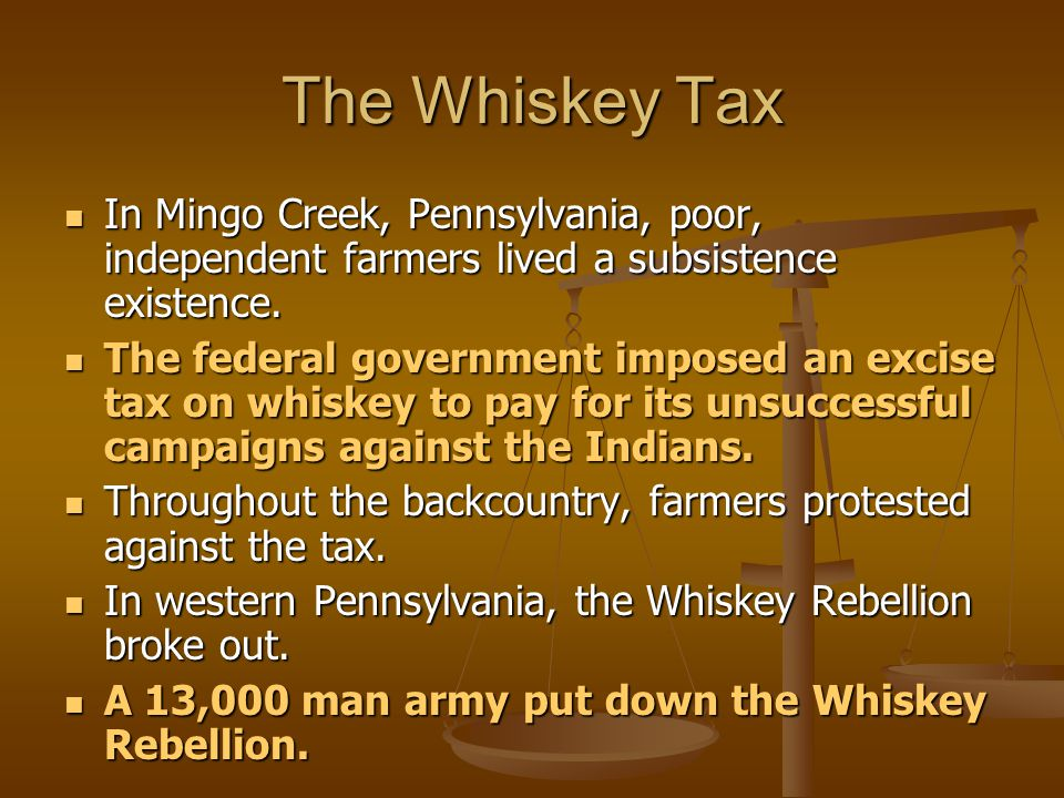 The Whiskey Tax In Mingo Creek, Pennsylvania, poor, independent farmers lived a subsistence existence.