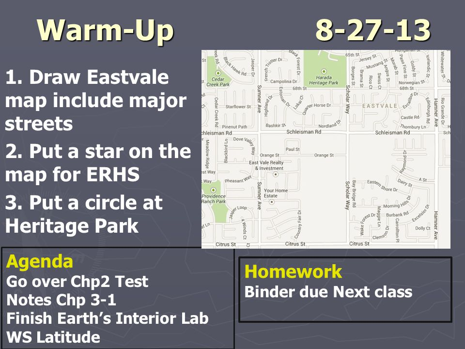 Warm-Up 8-27-13 1. Draw Eastvale map include major streets 2. Put a star on the map for ERHS 3. Put a circle at Heritage Park