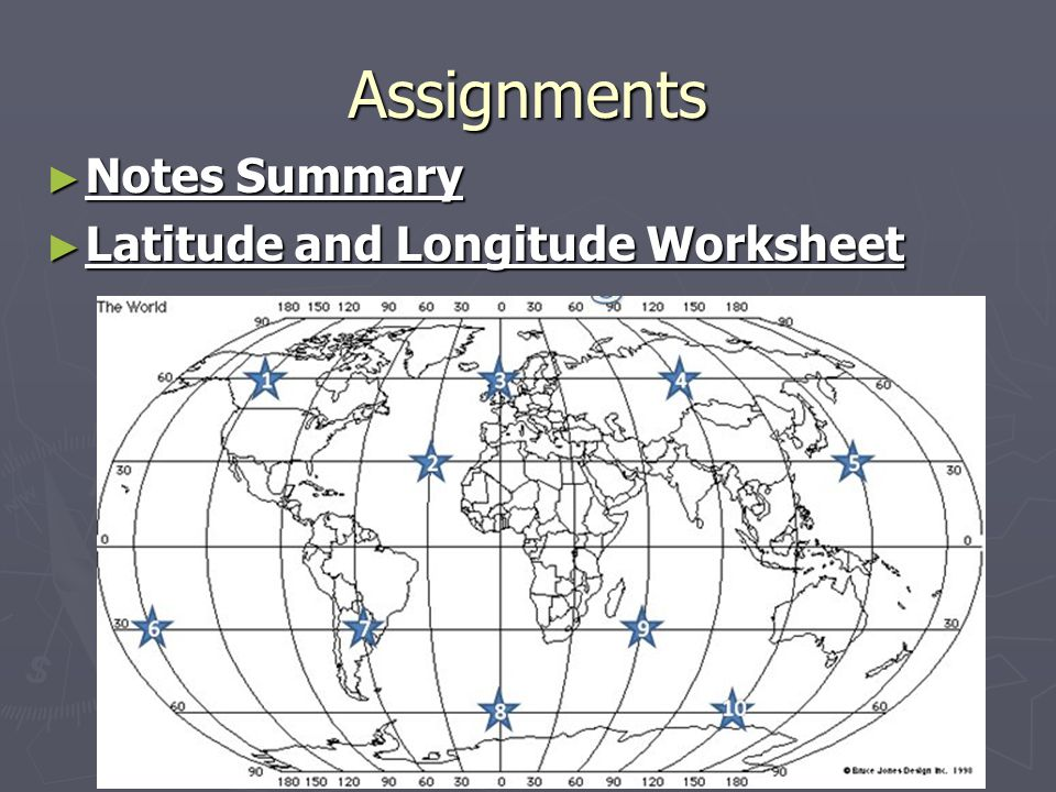 Assignments Notes Summary Latitude and Longitude Worksheet