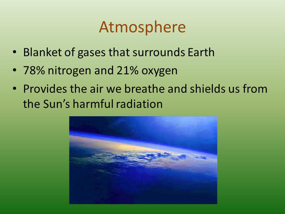 Atmosphere Blanket of gases that surrounds Earth