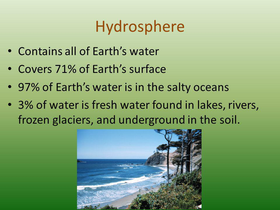 Hydrosphere Contains all of Earth's water
