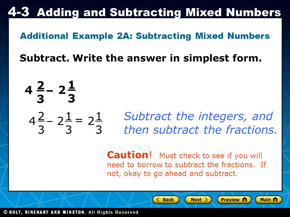 Additional Example 2A: Subtracting Mixed Numbers