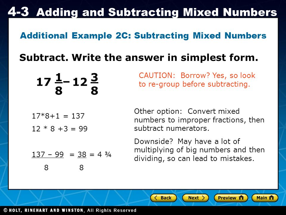 Additional Example 2C: Subtracting Mixed Numbers