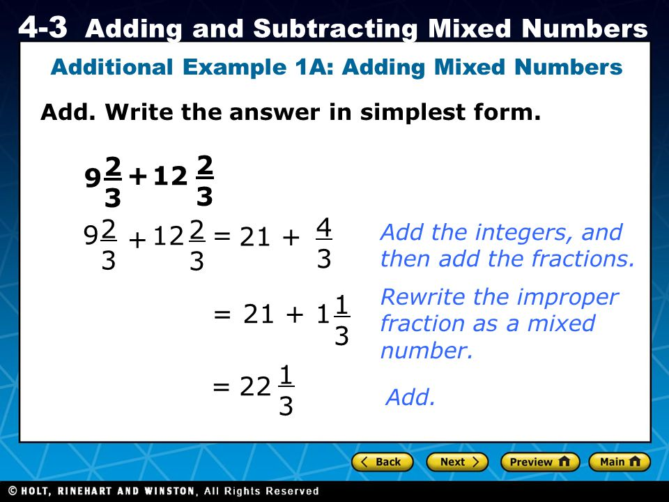 Additional Example 1A: Adding Mixed Numbers
