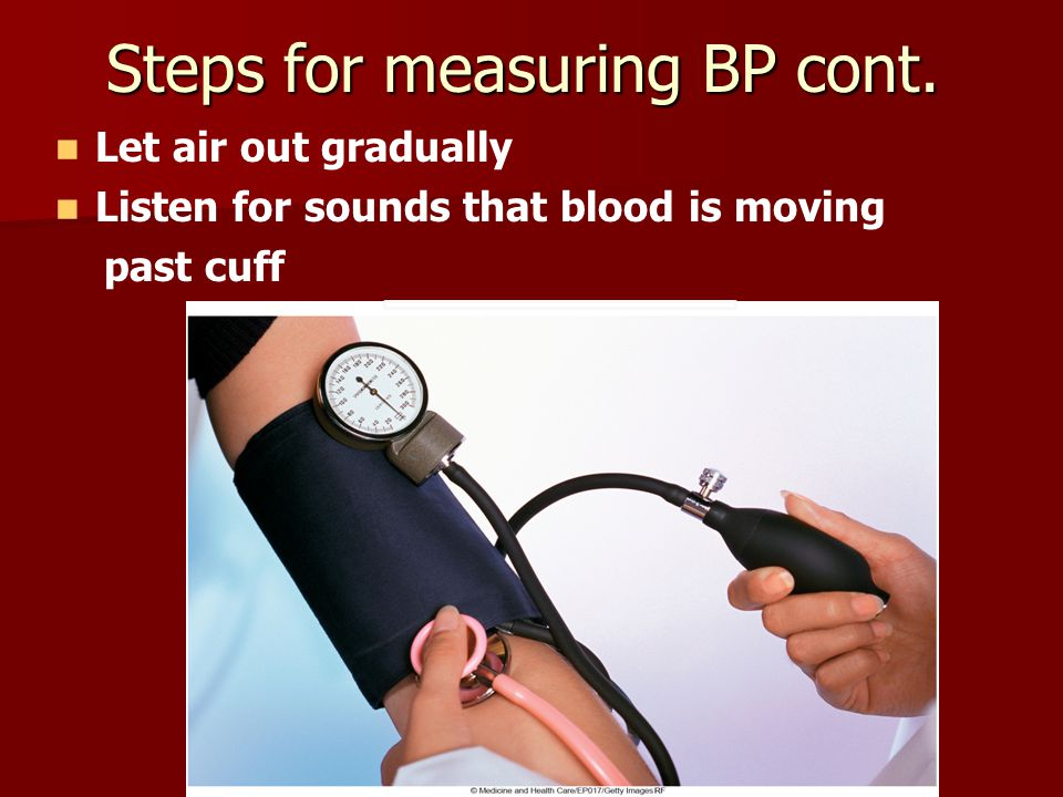 Steps for measuring BP cont.