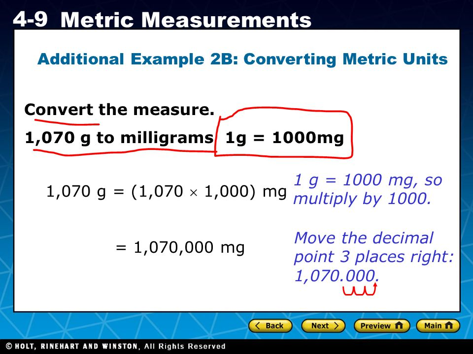 Additional Example 2B: Converting Metric Units