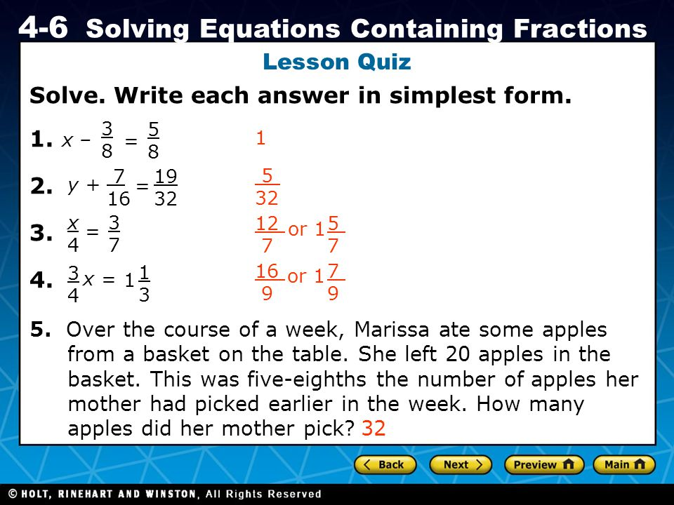Solve. Write each answer in simplest form. 1. 2. 3. 4.