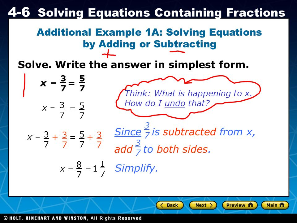 Additional Example 1A: Solving Equations by Adding or Subtracting