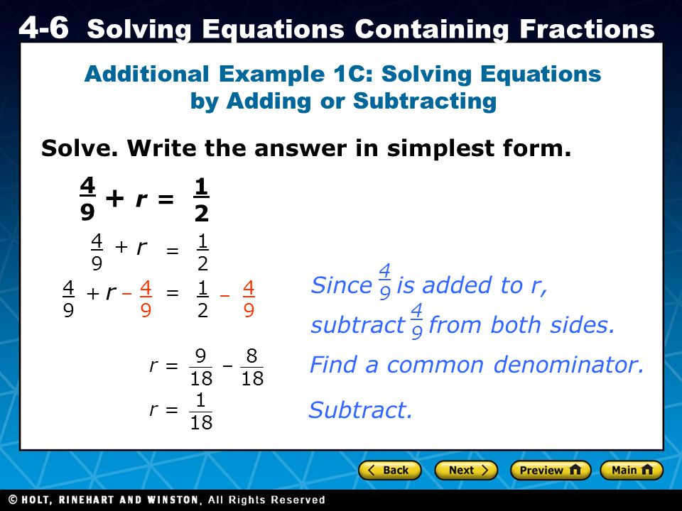 Additional Example 1C: Solving Equations by Adding or Subtracting