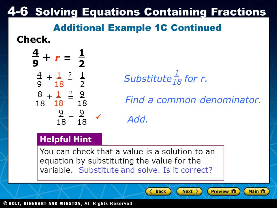 Additional Example 1C Continued