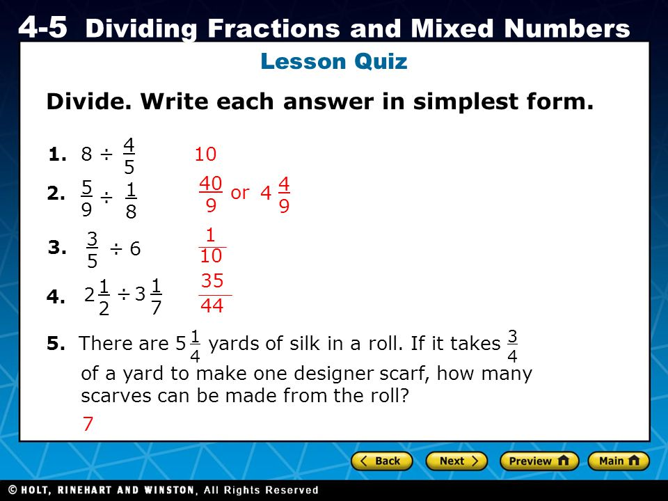 Divide. Write each answer in simplest form.