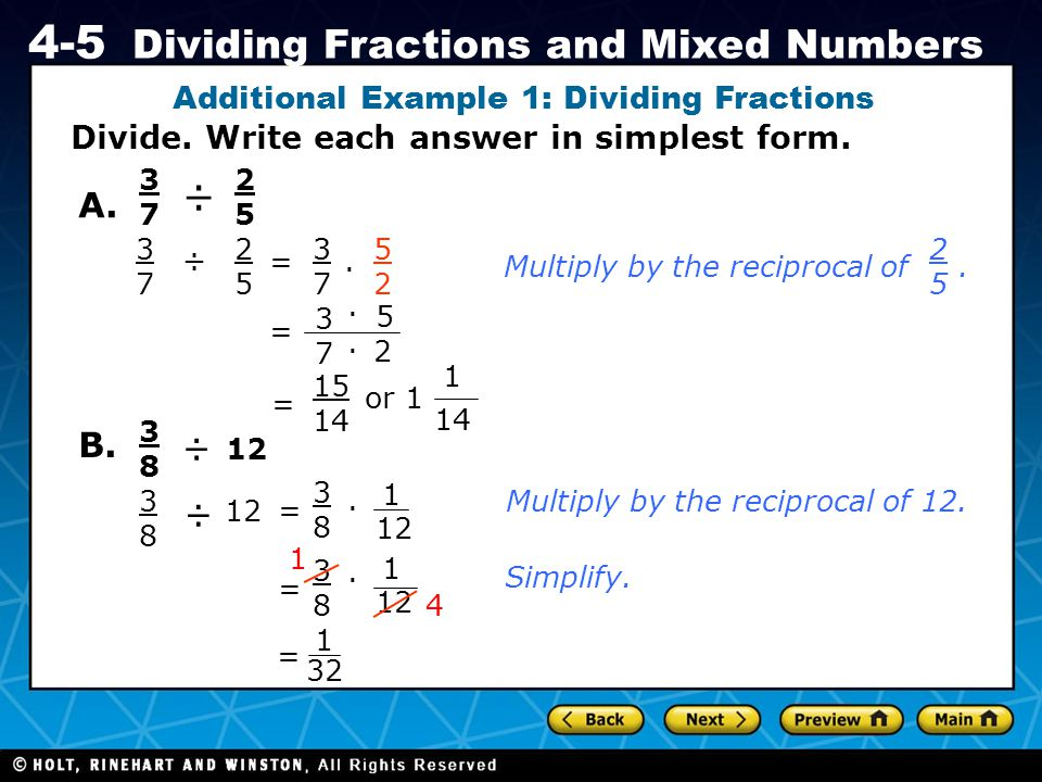 Additional Example 1: Dividing Fractions