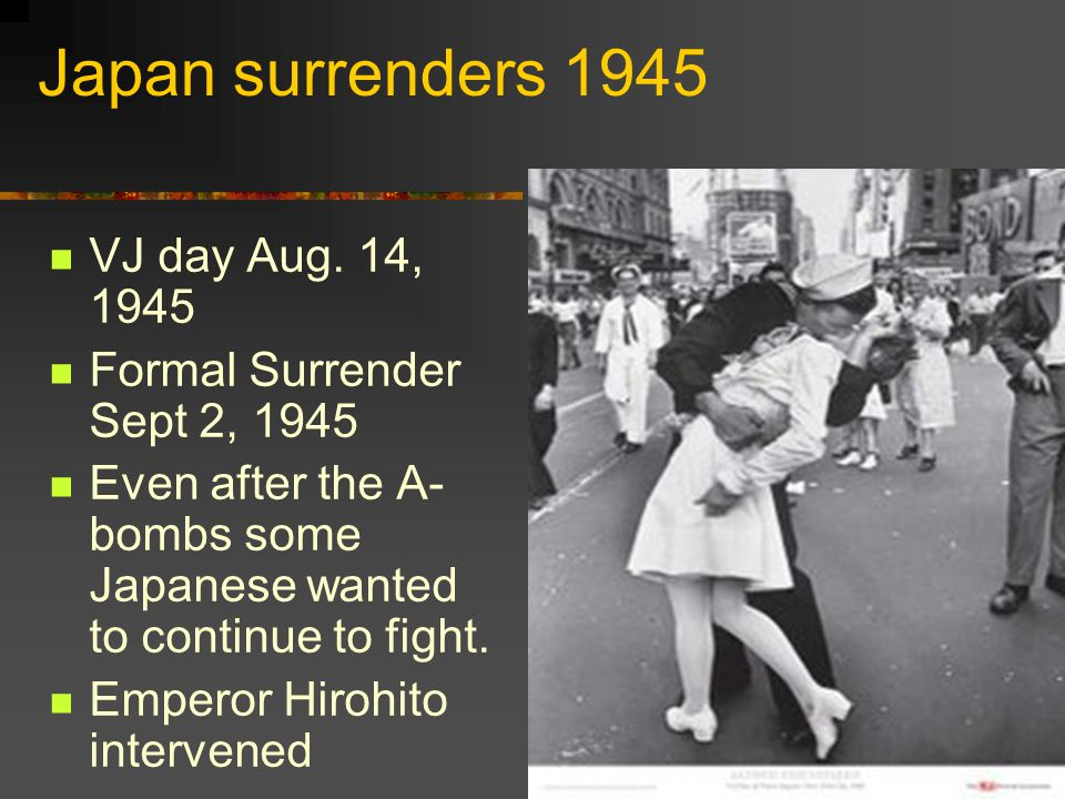 Japan surrenders 1945 VJ day Aug. 14, 1945