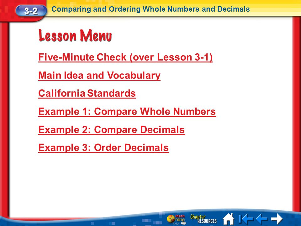 Five-Minute Check (over Lesson 3-1) Main Idea and Vocabulary